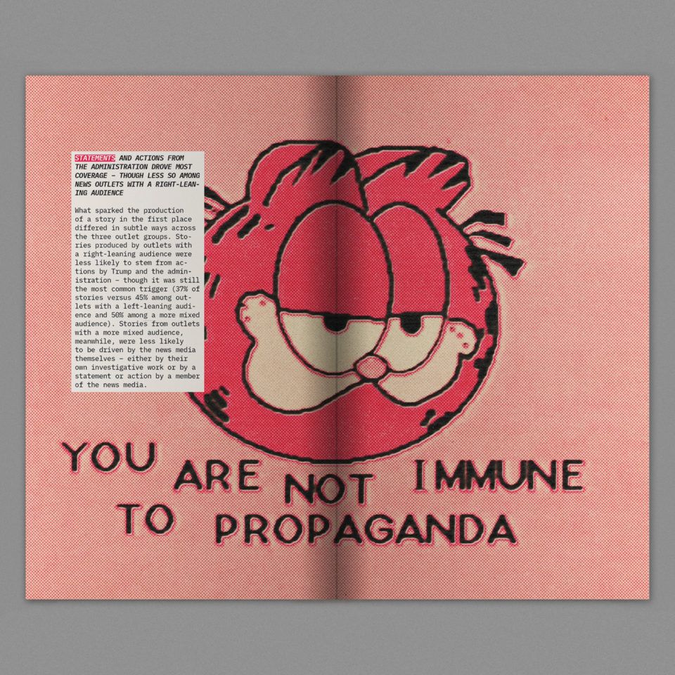 Spread from a publication about the corporate influence on US media sources.
