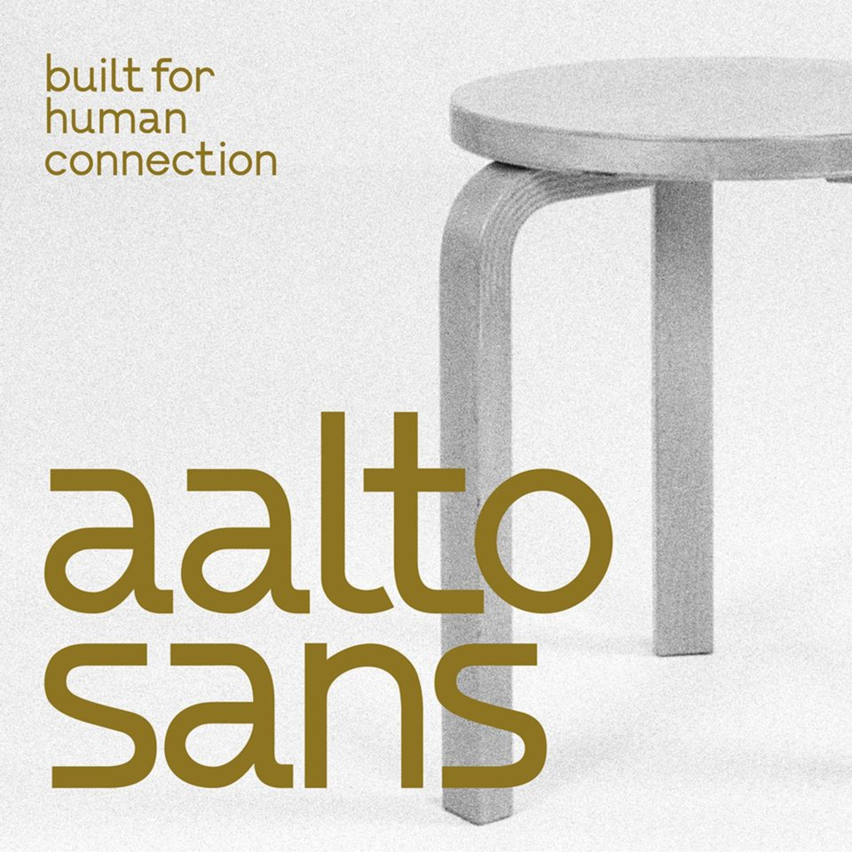 """A modern sans serif that embraces the principles explored by Finnish architect + furniture designer, Alvar Aalto. """