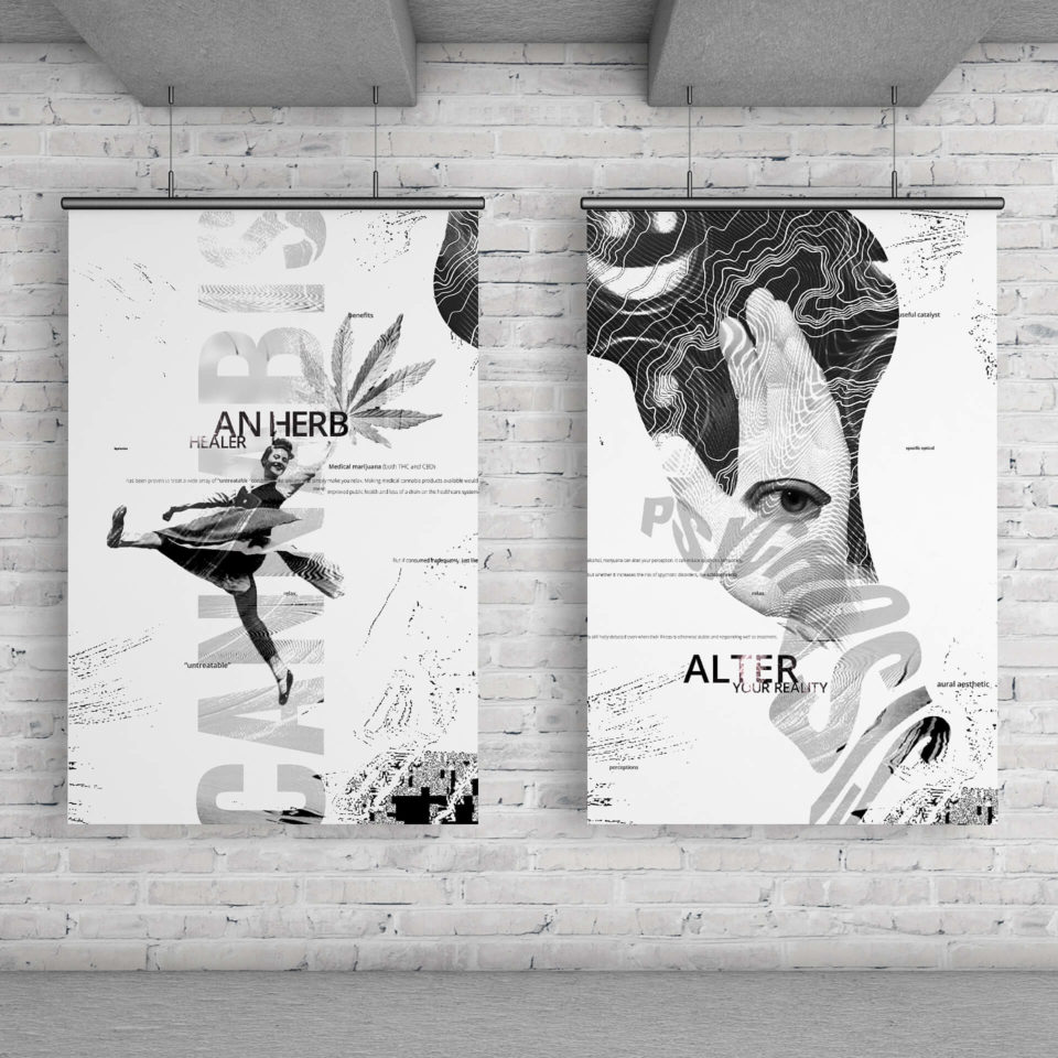 A series of posters that explores the pros and cons of the juxtaposition of prohibition with the legalization of marihuana.