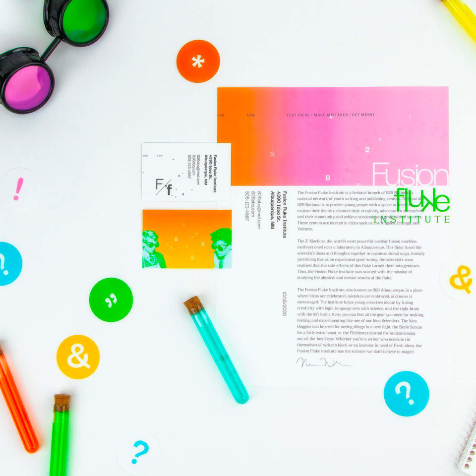 Brand identity for The Fusion Fluke Institute, which is a fictional branch of 826 National, a national network of youth writing and publishing centers.