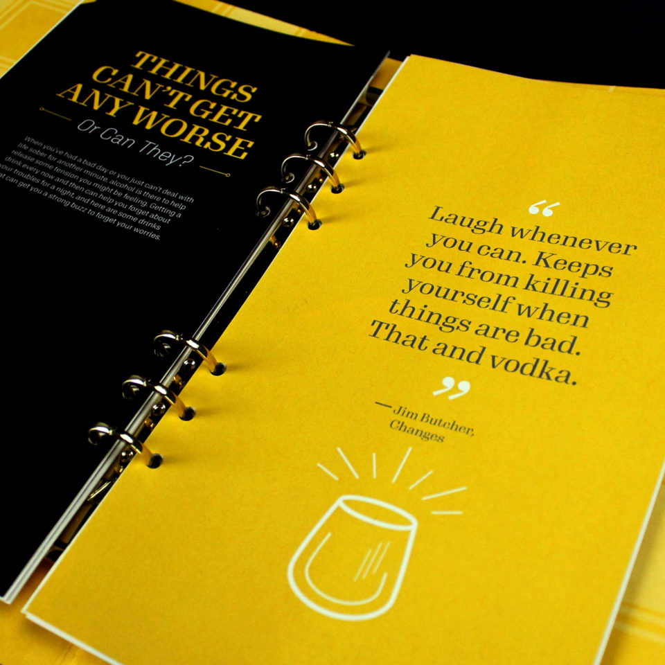 Mixology recipe book that categorizes drinks by mood instead of liquor type.
