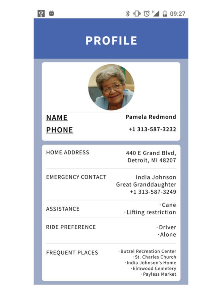 Ride sharing app for senior citizens in Detroit