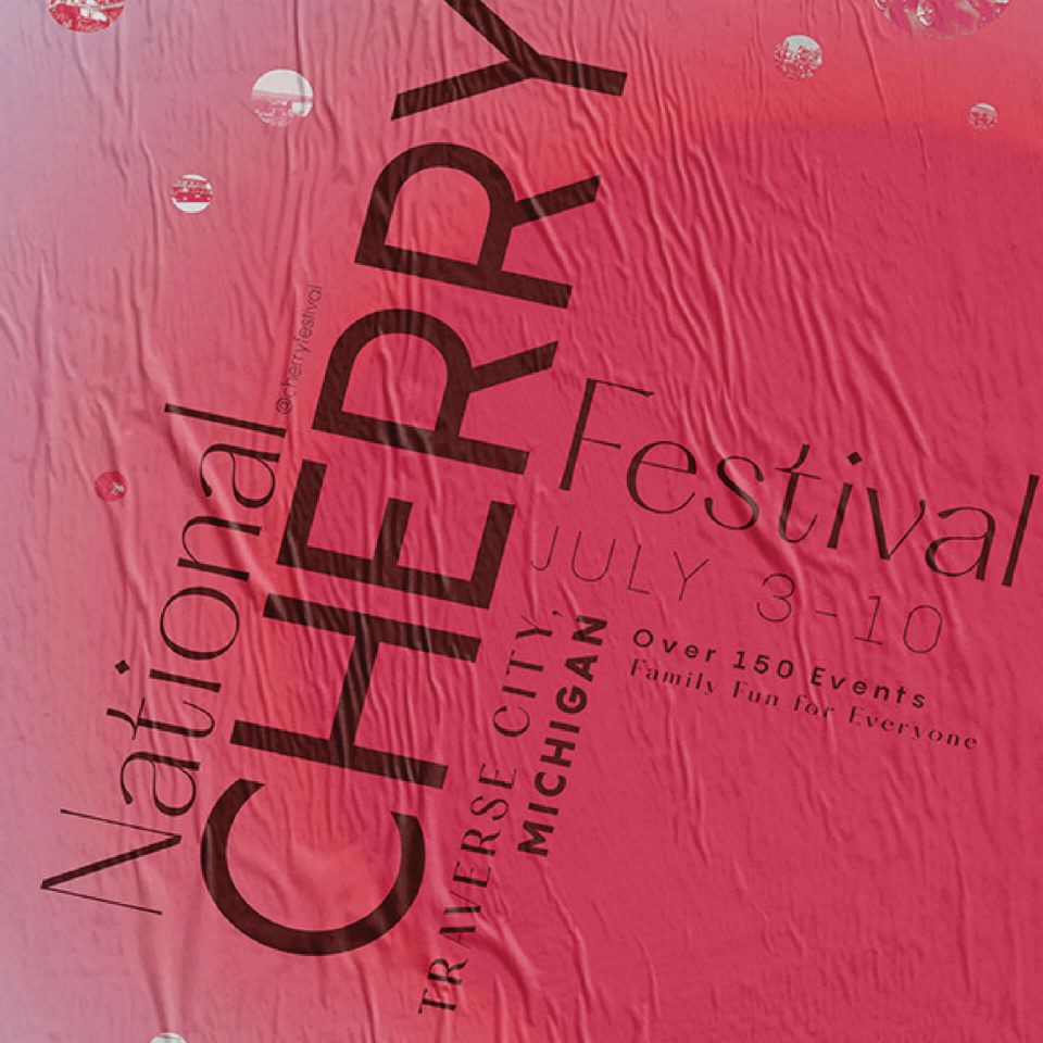 The National Cherry Festival's purpose is to celebrate and promote cherries, community involvement, and tourism of Grand Traverse region. The festival provides economic benefits throughout the Northern Michigan. In order to promote the Cherry Festival, a poster and digital component were developed that allures, informs, and engages an audience to the event. These two pieces collectively are a part of a unified system that promote a family friendly event for people of all ages and promote that there is something for everyone with over 150 events.