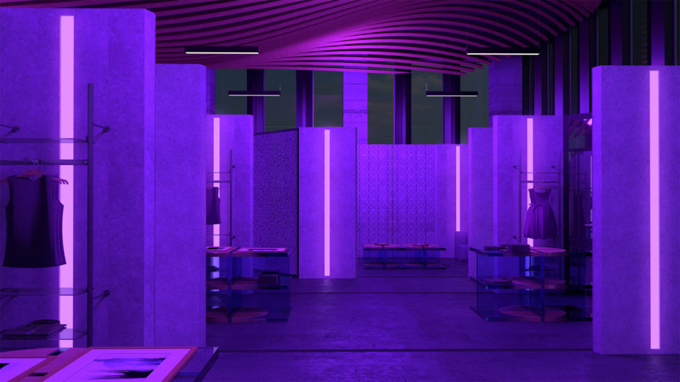 Purple colored retail space
