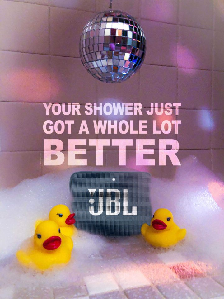 image of a JBL speaker with rubber ducks and a disco ball