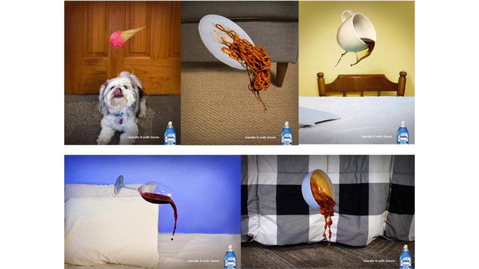 five print ads advertise how Dawn dish soap can handle tough messes. they show different foods spilling, including ice cream, spaghetti, coffee, wine, and chili.