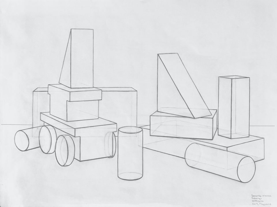 Perspective study of a complex arrangement of basic objects, such as cylinders and cubes.