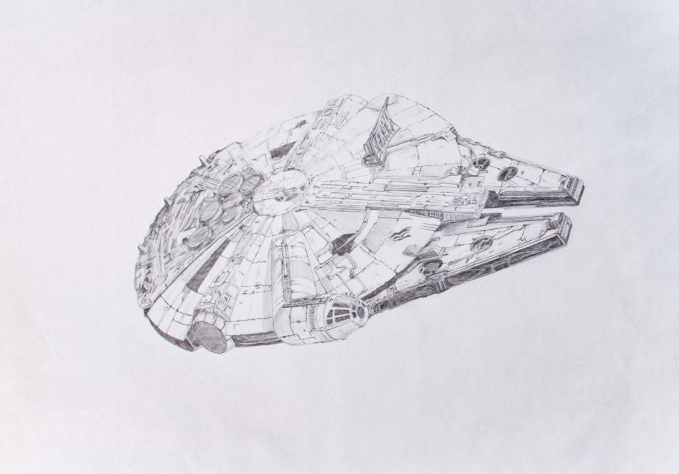 3 pt drawing of the Millennium Falcon spaceship from Star Wars
