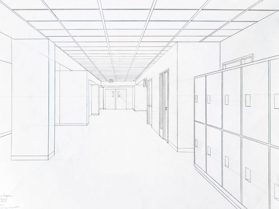 A 1 point perspective view looking down a hallway with a tiled ceiling, lockers, doors, and a pillar