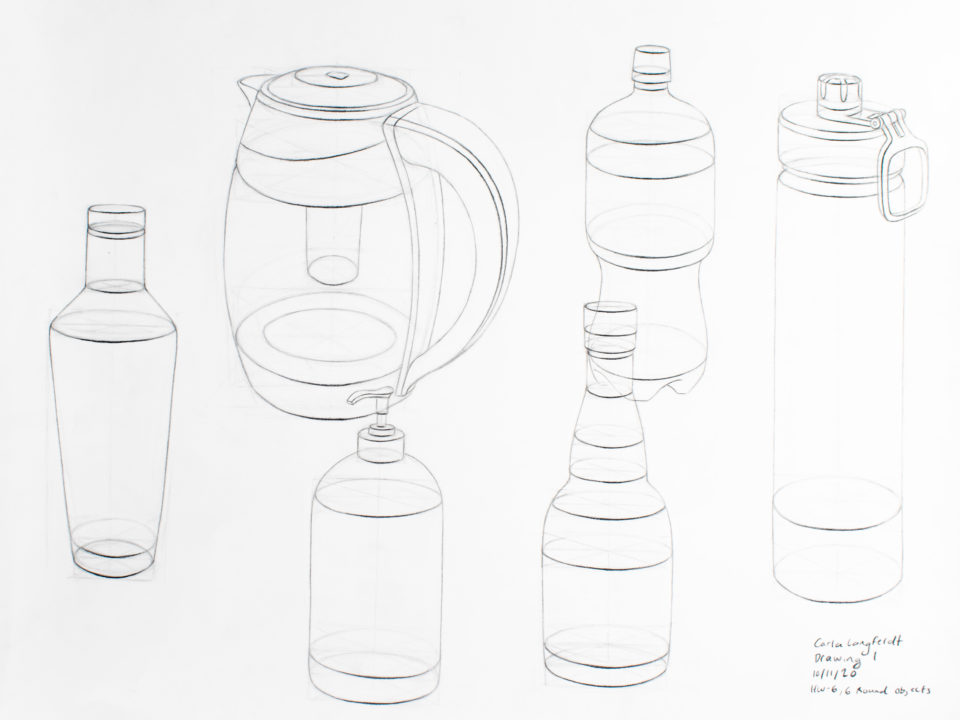 Six elliptical objects - three water bottles, an electric kettle, a soap dispenser, and a bottle