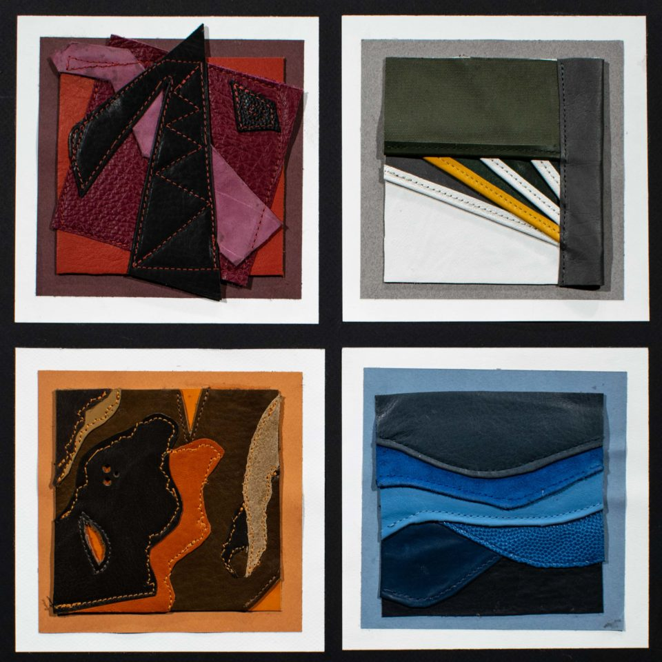 4 boxes of leather mounted on paper