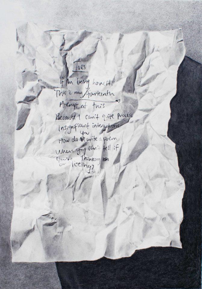 Graphite crumpled paper