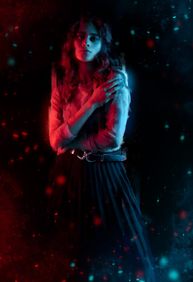 Woman in a dark background with a red light on the left and a blue light on the right