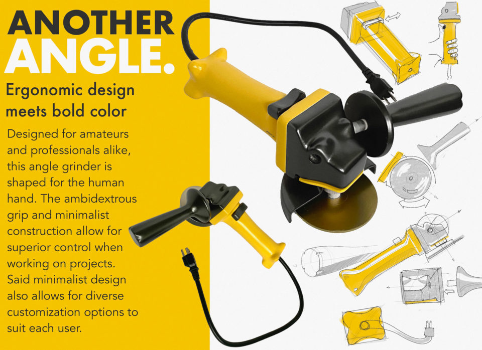 Redesigned angle grinder for ease of use and comfort