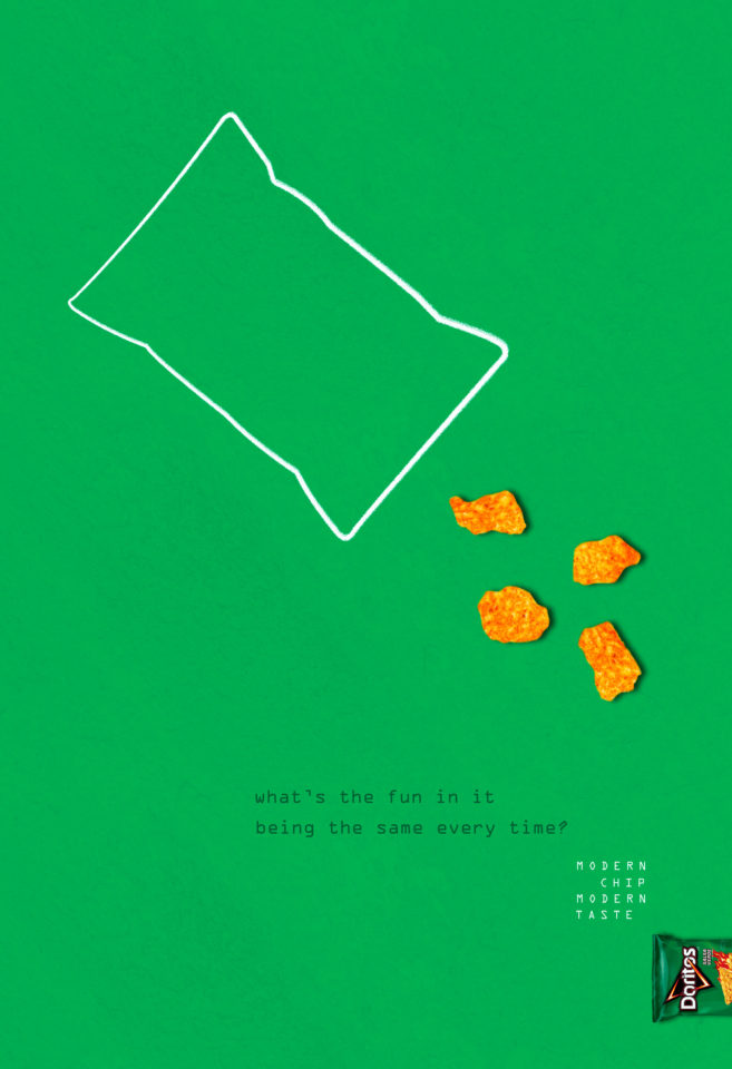Mimicked Doritos advertising campaign with the incorporation of the current trend: imperfection.