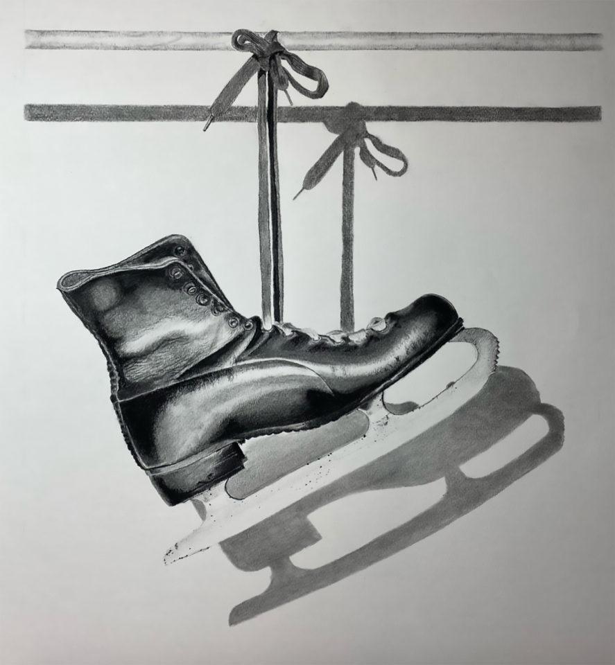 Drawing of hanging ice skates