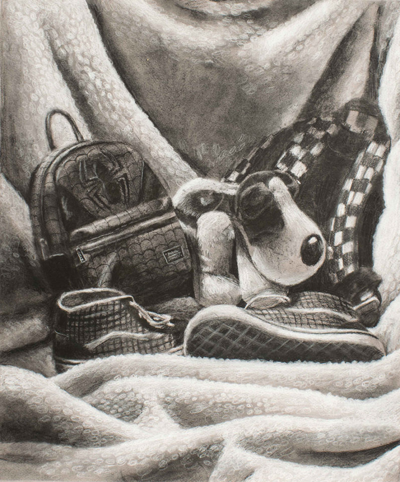 Charcoal rendering of a blanket with shoes, purse, stuffed animal
