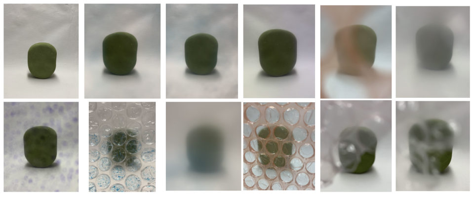 Images of foam base with different pieces of material (bubble wrap, plastic) in front of it to show how it can be distorted