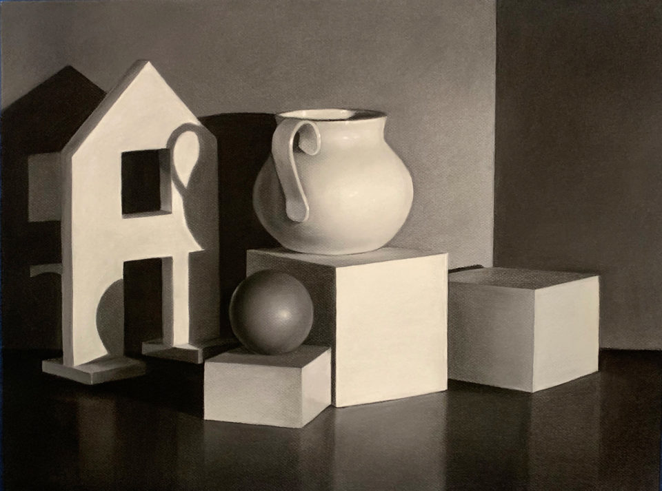 A still life studying value and perspective of shapes