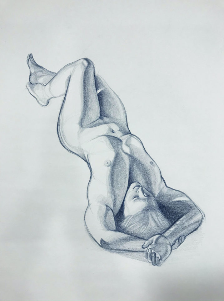 Blue Prisma drawing of lady laying down
