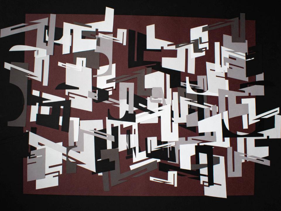 Abstracted cut paper arrangement