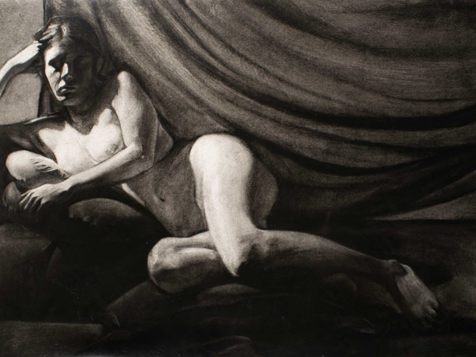 Figure drawing of a woman on fabric. Dramatic lighting hits her face. Her face is held up by her hand