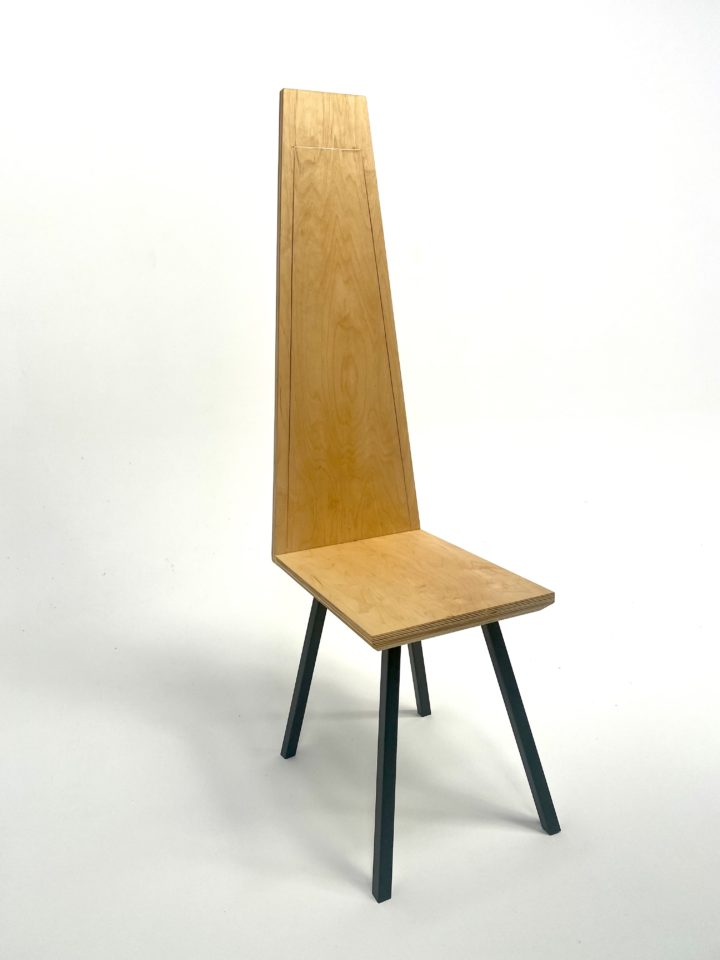 wooden chair with tall back and steel legs