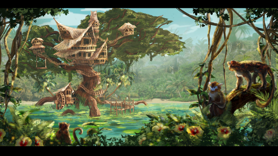 A massive treehouse mansion built in the jungle, inspired by things like the house in Tarzan or the Swiss Family Robinson house.