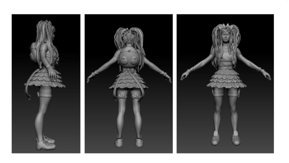 Shots of a finished model as well as a rendered/painted model. Model is female with large ponytails and wearing a backpack with a frilly skirt, thigh-high socks, gloves, sport shoes, and variety of jewelry. Progress images are flat grey to show off the model in a t-pose, both a front, back and profile view.