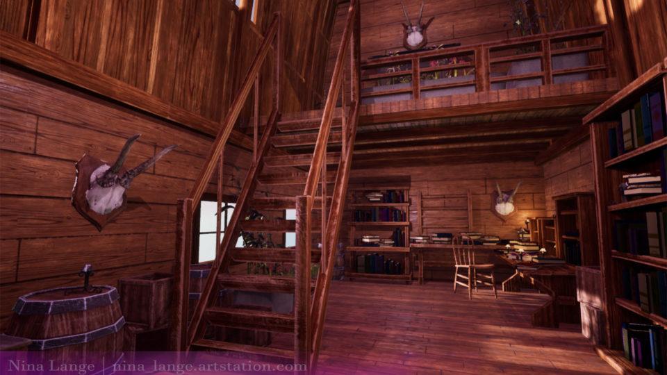 Digital Rendering of Game Interior - Rustic House