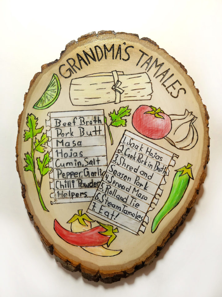 Recipe burned and painted onto wood