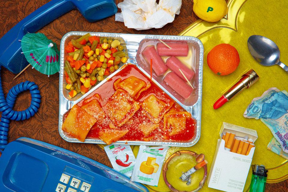 Family dinner, tabletop set dressing