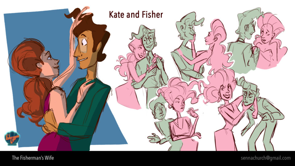 Multiple sketches of two characters interacting
