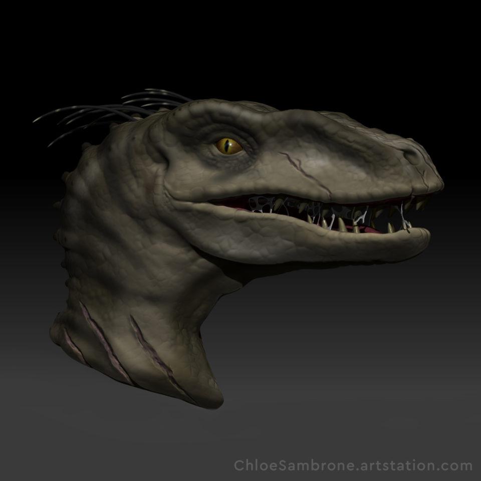 Velociraptor sculpt, polypainted