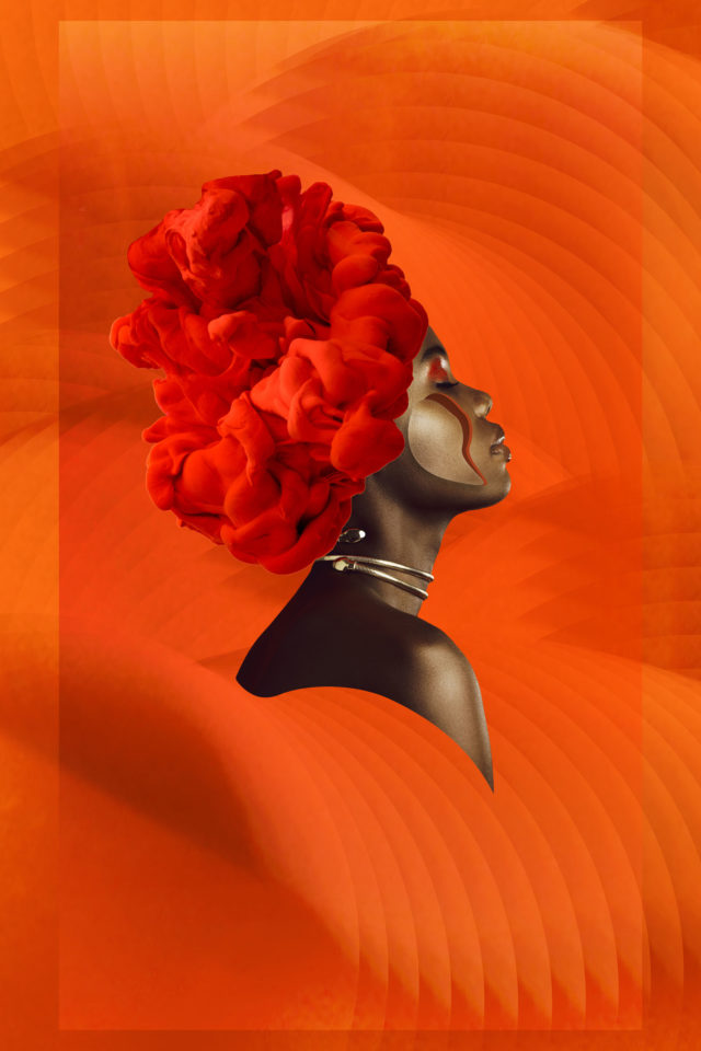 Orange piece with a black female in the middle with a black smoke bomb on her head