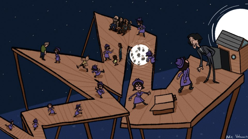 Digital illustration of a warped wooden boardwalk with a series of odd events occuring over its length