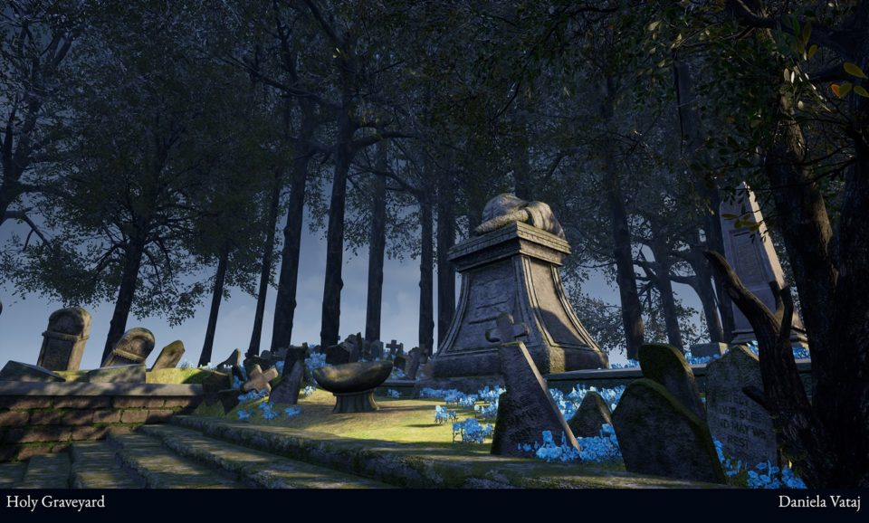 A 3D render of a Graveyard created in Unreal Engine 4. The central focus of the piece is a large statue of a angel sobbing over a large centerpiece tombstone.