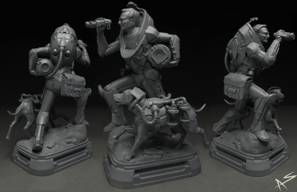 3D modeled in Zbrush, 3D printed, and primed for molding.