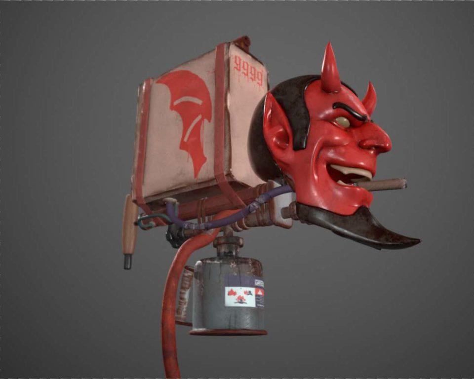 devil head attached to a gasoline tank